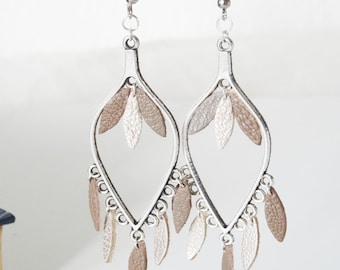 GENUINE leather drop dangle earrings