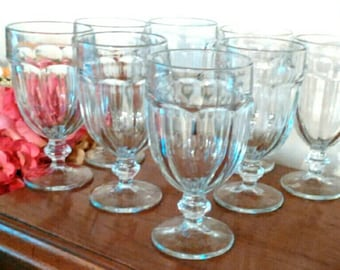7 Vintage Clear Glass Libbey Duratuff 16 oz. Gibraltar Stemmed Water Goblets Iced Tea Wine Glasses - Excellent Condition!