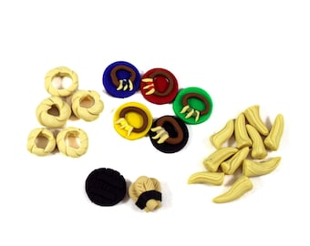 Stone Age Expansion Tokens -- Teeth, Rings, Jewelry track markers, 5th black player pieces