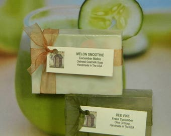 Cucumber Melon Soap, Cucumber Soap, Glycerin Soap, Aloe Soap, Olive Oil Soap