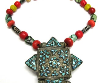 Antique Tibetan Gau Box Necklace, Tibetan Ghau, c.1800's, Antique Glass dZi Beads, Heirloom Turquoise Beads, Sherpa Coral, Low Grade Silver