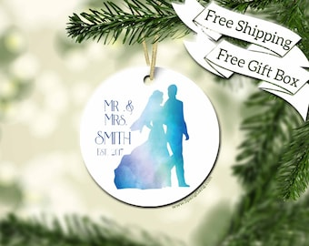 Bridal Shower Gift | Custom Wedding Ornament | Personalized Newlywed Ornaments | First Christmas Couples Ornament | Gift for Couple | WE02
