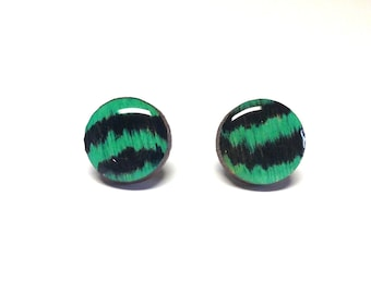 BLACK and Teal earrings, Wood stud earrings. Round wood earrings, Wood studs, Wood earrings, BLACK and TEAL earrings