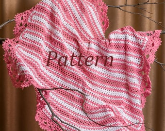 Tutorial Crochet Pattern, Crochet Baby Blanket Pattern, Crochet Stroller, Baby Afghan, Travel Newborn Blanket, Instant Download /4017/