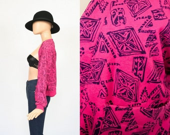 Vintage 80s New Wave Jacket Jumper / 1980s Hot Pink Cardigan / Graphic Geo Print / Club Kid Electro Shirt Top / Slouchy Cropped / Medium