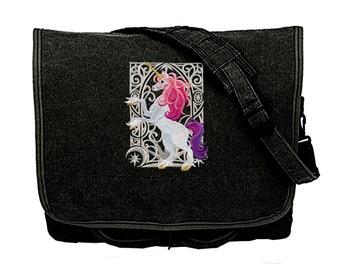 Unicorn Nouveau Embroidered Canvas Messenger Bag