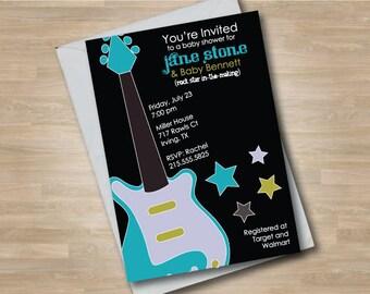 Guitar Baby Shower Invitation, Rock n Roll Shower