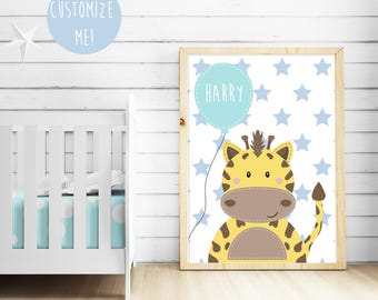 Giraffe Balloon Name Nursery Print, Customize your own. Choose your own background pattern, colour and name!