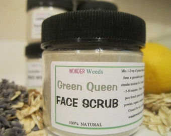 FACE SCRUB, All Natural, with Honey,  Rhassoul and French Green Clay, acne, blemishes