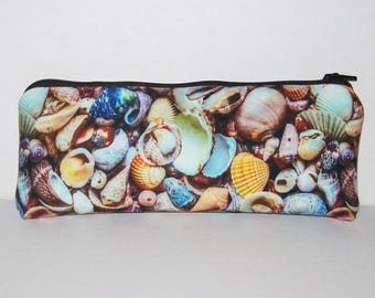 """Pipe Pouch, Seashells, Pipe Case, Pipe Bag, Padded Pipe Pouch, Glass Pipes, Ocean, Water, Stoner Gift, Padded Pouch, Zipper Bag - 7.5"""" LARGE"""