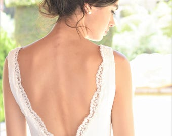 Open back wedding dress, boho wedding dress, backless wedding dress, beach wedding dress, lace wedding dress, unique wedding dress,