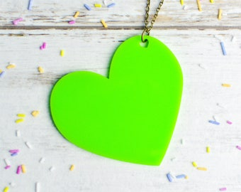 Green Heart Necklace | Large Statement Necklace | Extra Long Necklace | Laser Cut Jewellery | Nickel Free