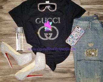 Sparkle Gucci Inspired Crystallized Designer Inspired Bling Bling Rhinestone T-Shirt