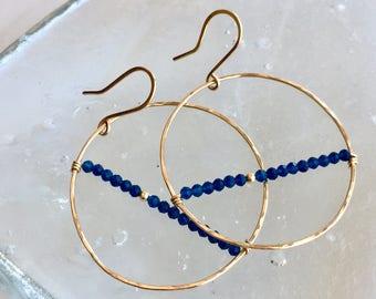 Blue chalcedony dangle hoops-med