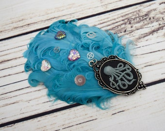 Handcrafted Steampunk Aquamarine Feather Hair Clip - Octopus Mermaid Accessory - Mermaid Cosplay - Iridescent Scale Bow - Gear Hair Clip