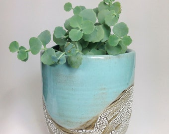 Succulent Planter, Ceramic Flower Pot, Pottery Planter, Green Cactus Pot, Stoneware Planter, Rustic Pots, Has Drainage Holes, MADE TO ORDER