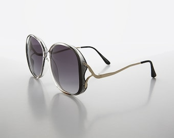 Oversized Round Boho Sunglass with Drop Down Gold Temples - Beverly