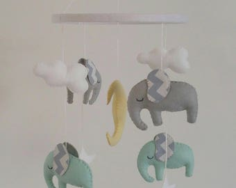 Light mint/teal and light grey elephants baby mobile with chevron ears - cute little nursery mobile made to order