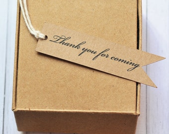 Thank You For Coming Gift Tag, Pennant Gift Tag, Flag Gift Tag, Wedding Tag, Kraft Gift Tag, Birthday Tag, Thank You Tag
