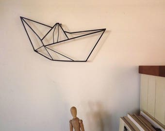FREE SHIPING, origami Boat, geometric wall Art, paper boat, original, unique object, steel sculpture, metal art, home decor. modern art