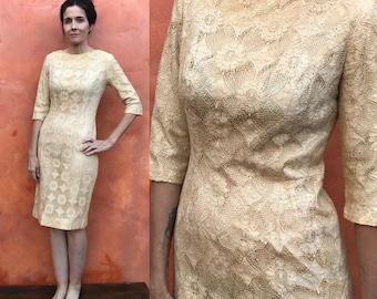 Vintage Bombshell 1950s 1960s Ivory Lace wiggle Dress. Claralura Original