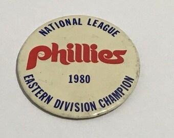 Lot of 3 MLB Philladelphia Phillies Baseball 1980s Championship Pin Buttons