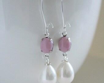 Pink Earrings, Pantone Rose Quartz, Bridesmaid Jewelry, Pink Pearl Earrings, Spring Earrings, Pink Wedding, Girlfriend Gift, Country Chic
