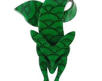 Lea Stein Famous Renard Fox Brooch Pin - Green Detail