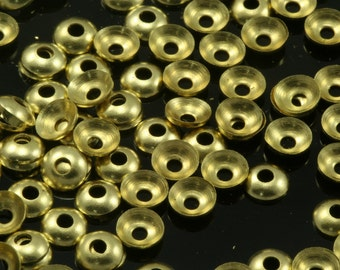 800 pcs raw brass 4 mm cone circle middle hole charms ,raw brass findings bead cap  103R-48 tmlp