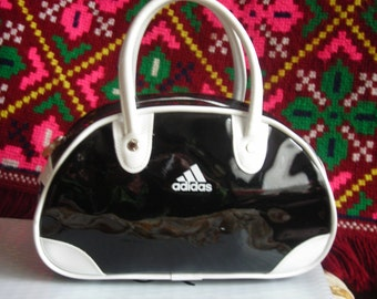Vintage Adidas Hand Bag. Black and White. Man Made Materials. Pre Loved.