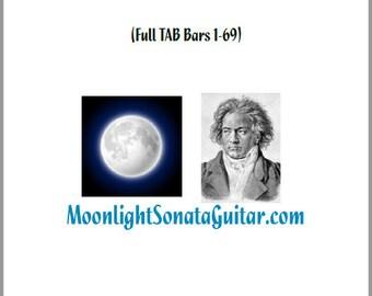 Moonlight Sonata Guitar TAB Book Bars 1-69 (Full TAB)