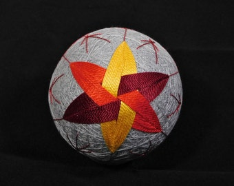 Rattling Temari Ball Ornament Yellow Orange Red Spindles Home Decor Wedding Gift