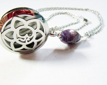 Amethyst essential oil jewelry - aromatherapy necklace -  oil diffuser jewelry - aromatherapy necklace diffuser locket