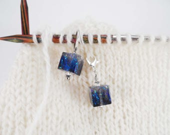 Blue and Green Captured Fiber and Resin Stitch Marker and Progress Keeper Set