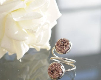 Silver Plated Double Druzy Ring |  Adjustable | Rose Gold | Multicoloured | Silver | Grey Druzy