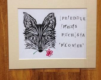 Lino print fox