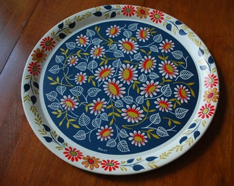 vintage metal serving tray - Maxey - 1960's retro floral - red - white - blue - gold - Mod