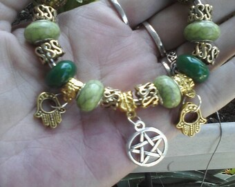 Pagan Wiccan, Healers and Reiki masters, Jade stone, Euro style bracelet