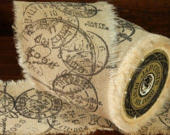 All Around The World - Vintage Inspired Hand-Stamped Tea Dyed and Frayed Muslin Trim Around A Charming Wooden Spool