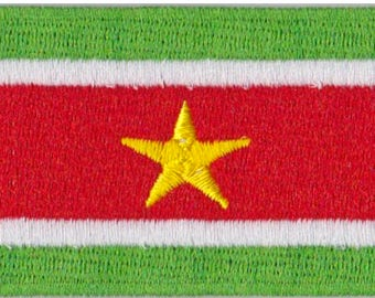 Small Surinam Flag Iron On Patch 2.5 x 1.5 inch Free Shipping