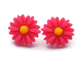 Large Hot Pink Daisy Earrings - Rockabilly Large Flower Jewelry
