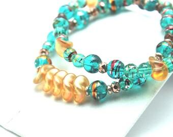 Stretch Bracelet Set Aqua & Orange Glass Splatter Metallic Turquoise Teal Beaded Stacking Translucent Colorful Circus Couture Summer Colors