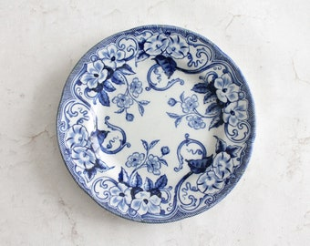 Antique decorative plate of Creil and Montereau, blue and white, 22 cm, AST181354