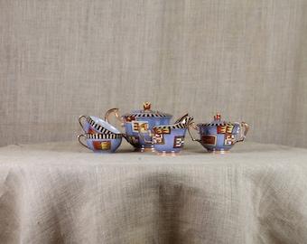 Rare Vintage Deco NORITAKE Luster Tea Set * Tea Pot * Creamer * Sugar Bowl * Cups