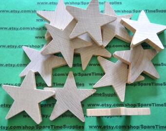 "Standard Star - 2 1/4"" tall x 2 1/4"" wide x  1/4"" thick - unfinished wood - 12 pcs - #CO2325WW12"