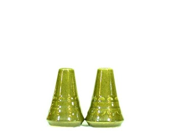 Vintage Sheffield Granada Green Salt and Pepper Shaker Set