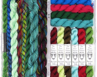 Thread assortment, Needlepoint fiber, silk threads, stitching, embroidery, turquoise, red, green, hand dyed fibers, holiday gift, fiber art