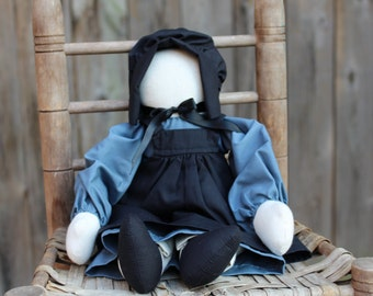Girl/Female Amish Doll without Face, Primitive Folk Doll, Country Doll, Handmade, Fabric: Female in Blue Dress, Pantaloons, Apron & Bonnet