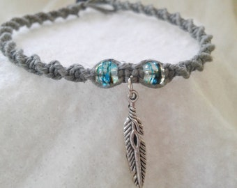 Feather Charm Hemp Anklet - Hemp Ankle Bracelet - Natural Bohemian Jewelry