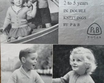 Children's cardigan and sweater Knitting Pattern  in P&B Patons and Baldwin Double knit